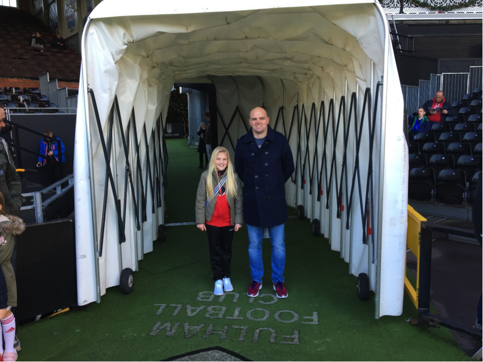 Our best part of the tour was walking up the tunnel onto the pitch.