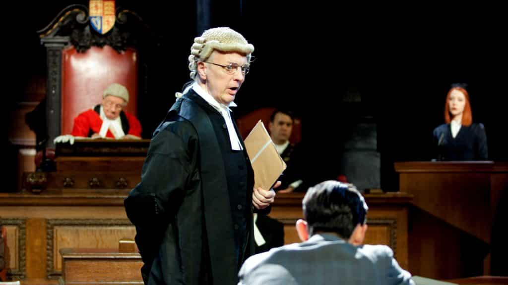 Philip Franks and the cast in Witness for the Prosecution (Credit : Sheila Burnett)